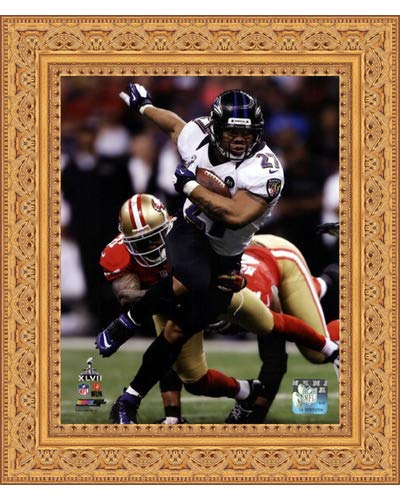 (Framed Ray Rice Super Bowl XLVII Action- 8x10 Inches - Art Print (Ornate Gold Frame))