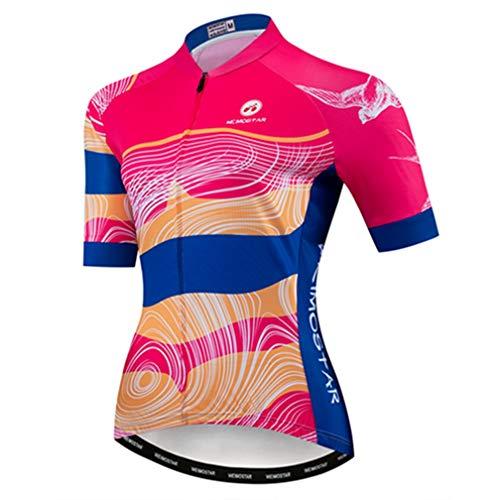 Cycling Jersey Women's Bike Jersey 2019 MTB Bicycle Shirt Team Racing Tops Pink L (Best Bike Jerseys 2019)