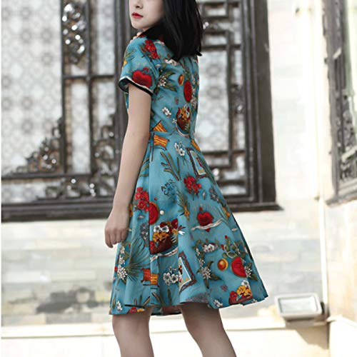Delgado Mujer Corta Green Mini Vestido De Línea Vestidos Manga Cheongsam Una Cuello Floral O Vintage 6OaSW