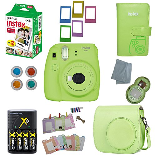 Fujifilm Instax Mini 9 Instant Camera – 10 Pack Bundle Lime Green (Large Image)