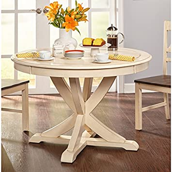 Simple Living Vintner Distressed Antique White Round Dining Table