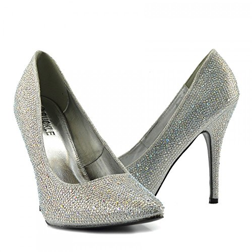 Dresser Big Heel Drag Sizes Glitter Pointy Queen BS12924 HIGH Court 10 Mens 12 Toe Shoes 924 UK Womens 9 11 New Silver Cross fSYY8Owq
