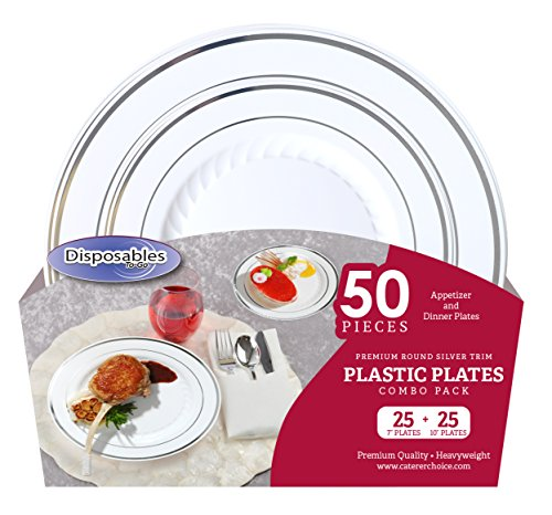 "Premium China dishes design Combo Heavy-weight White with Silver Trim Round Plastic Party Plates | 50 Count - 25 x 7""inch 25 x 10"" 