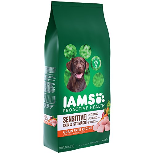Iams ProActive Health Sensitive Skin & Stomach Grain Free Dog Food  with Real Chicken and Peas, 4.4 Pound Bag