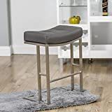 MIX Brushed Stainless Steel Faux Leather Grey 26-inch Seat Height Stationary Saddle Bar Stool