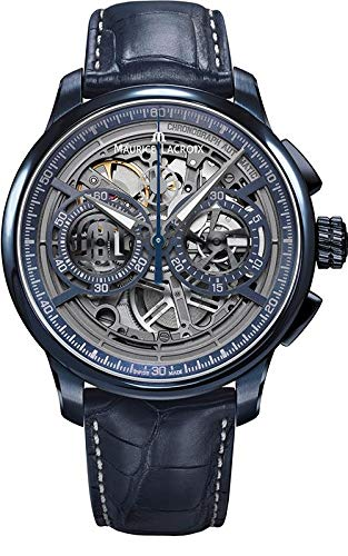 Maurice Lacroix Masterpiece Chronograph Skeleton 45mm Watch | Blue/Blue Leath