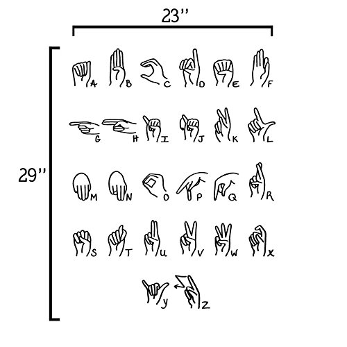 YINGKAI Sign Language Alphabet Decal Living Room School Home Vinyl Carving Wall Decal Sticker for Kids Room Home Window Decoration