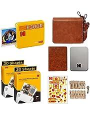 Kodak P300R Mini 3 Instant Printer voor smartphones, accessoire & 68 cartridges inbegrepen, foto in vierkant 76x76 mm, draagbaar, draadloos en Bluetooth, compatibel met iOS en Android, Geel