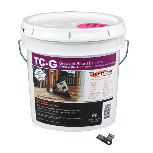 Tiger Claw TC-G Hidden Deck Fasteners, 900 Piece Bulk Pail (Tiger Claw Tc 3s Hidden Deck Fasteners)