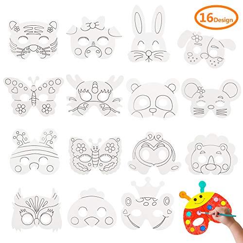 Diy Bunny Halloween Costume (DIY Animal Masks Graffiti Blank Painting Mask for Party Supplies (16 pcs))