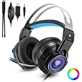 XBox one Gaming Headset for PS4, PC, Laptops, Nintendo Switch, Mobile Phones with Mic Noise Isolation/LED Light/Bass Surround Stereo/One Key Mic Mute/3.5mm Wired Headphones