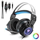 Gaming Headset for Xbox one, PS4, PC, Laptop, Nintendo Switch, Mobile Phones with Noise Isolation/Color LED Ligh(Plugged into USB)/Bass Surround Stereo One Key Mic Mute Omnidirectional 3.5mm Headphone