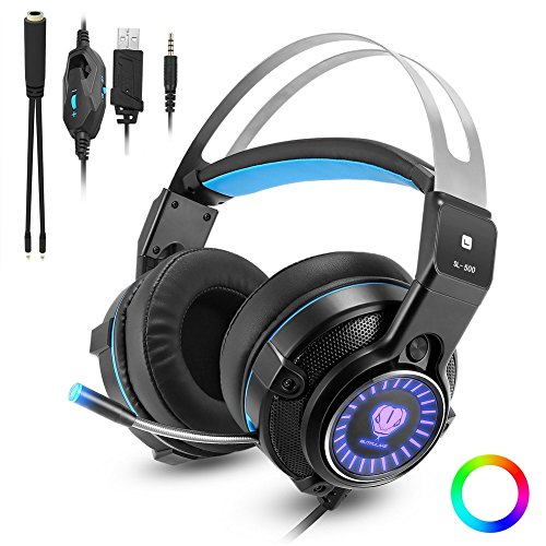 XBox one Gaming Headset for PS4, PC, Laptops, Nintendo Switch, Mobile Phones with Mic Noise Isolation/LED Light/Bass Surround Stereo/One Key Mic Mute/3.5mm Wired Headphones (Mobile Headset Stereo Phone)