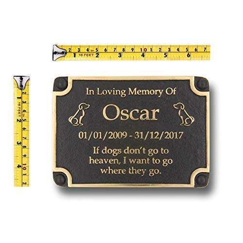 The Metal Foundry Personalised Dog Memorial Metal Plaque for Memory of A Loved Pet. Wall Mounted As Garden Stones Statue Gift Alternative Idea in Brass Handmade in England by The Metal Foundry Ltd (Image #2)