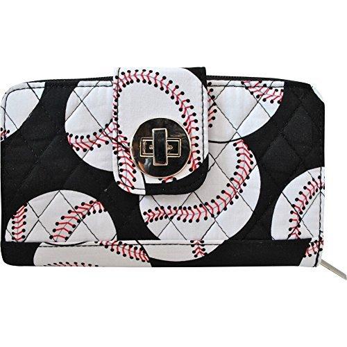 Baseball Print Quilted Twist Lock Wallet