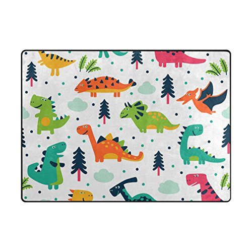 (INGBAGS Super Soft Modern Cute Dinosaurs Cartoon Area Rugs Living Room Carpet Bedroom Rug for Children Play Solid Home Decorator Floor Rug and Carpets 63 x 48 Inch)