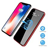 Qi Wireless Portable Charger, Hokonui 10000mAh Charging Power Bank with LED Digital Display External Battery Pack 2 in 1 for iPhone X, 8, 8 Plus, iPad, Samsung Galaxy S8, S8 Plus