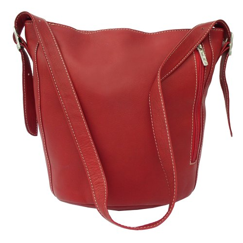 Piel Leather Bucket Bag, Red, One Size