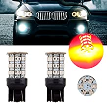 CCIYU 2 Pack Red 6000K 40W 4000LM 7443 7444 7440 Cree LED 60 SMD Stock Bulb Stop Light US