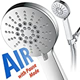 AirJet-300 High Pressure Luxury 6-setting Hand Shower with High-Velocity Flow Accelerator(TM) Hydro-Engine for More Power with Less Water! Extra-Long 6 foot Stainless Steel Hose/Fu