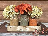 FALL Mason Canning JARS in Wood Antique White Tray Centerpiece with 3 Ball Pint Jar - Kitchen Table Decor - Distressed Rustic - Flowers (Optional) - Painted Jars Orange Mustard Brown Tan Green Yellow