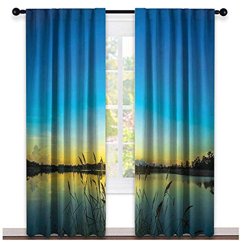 - hengshu Lake, Curtains Blackout, Sun Rising in Blue Sky Quiet Outdoors with Reed Bed Serenity in Country, Curtains Kitchen Window Set, W96 x L108 Inch Blue Turquoise Yellow