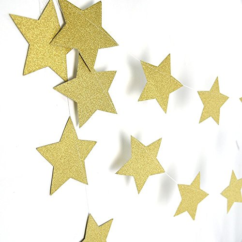Amaonm 26ft Gold Pastel Perfection Sparkling Star Garland Bunting for Weddings or Parties Stars Garland Decorations Table Wall Ceiling Decor 2 Pack