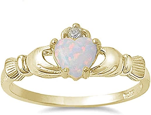 Princess Kylie White Simulated Opal Cubic Zirconia Crown Design Ring Sterling Sterling Silver