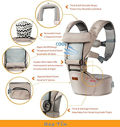 Ergonomic Baby Carrier with Hip Seat for Girls/Kids,Baby Backpack Carrier Toddler 6 Comfortable & Safe Positions, 48'' Maximum Adjustable Waistband, Perfect for Alone Nursing and Hiking (Grey)) by Hap Tim (Image #5)