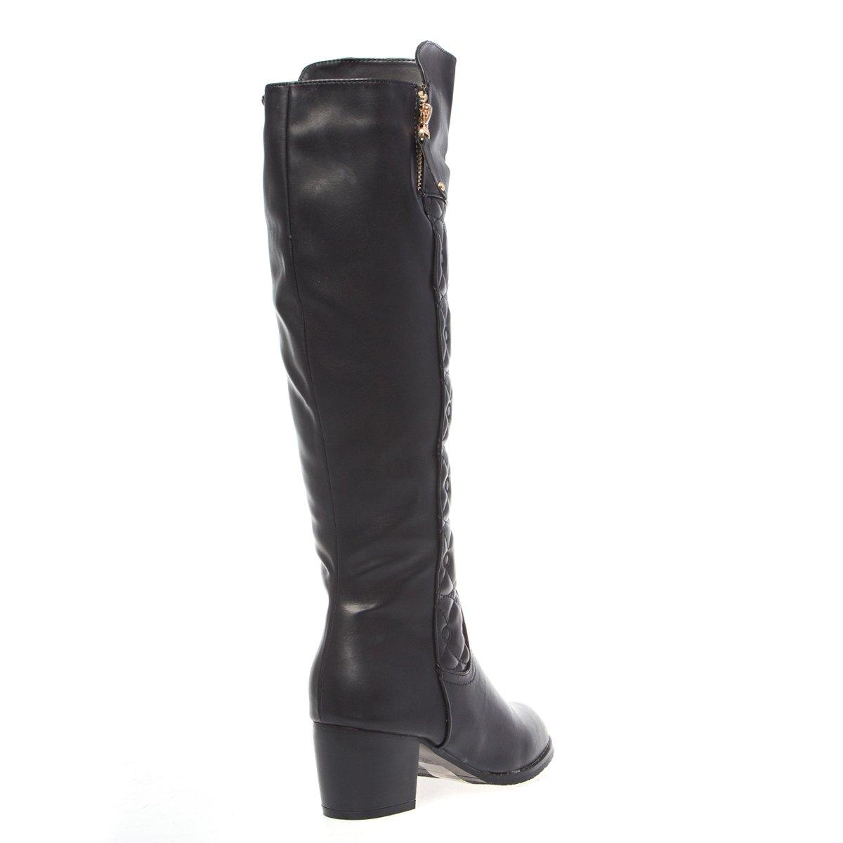 V-Luxury Womens 18-KAYLIN08 Round Toe Medium Heel Knee High Boot Shoes Black PU Leather