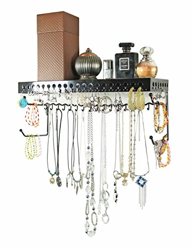Mango Steam Wall-mounted Jewelry Organizer Shelf (17 Inch, Black)