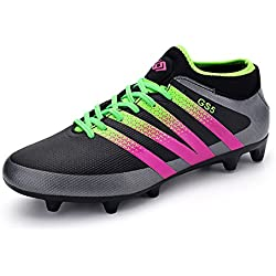 Leader Show Women's Performance Soccer Shoe Outdoor Athletic Football Cleats (7, Black)