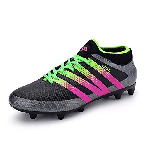Leader Show Women's Performance Soccer Shoe Outdoor Athletic Football Cleats (8, Black)