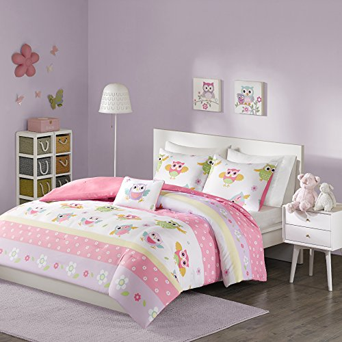 Comfort Spaces - Owl Kid Comforter Set - 4 Piece - Owl Flower Polka dot - Pink White - Queen Size, includes 1 Comforter, 2 Shams, 1 Decorative Pillow