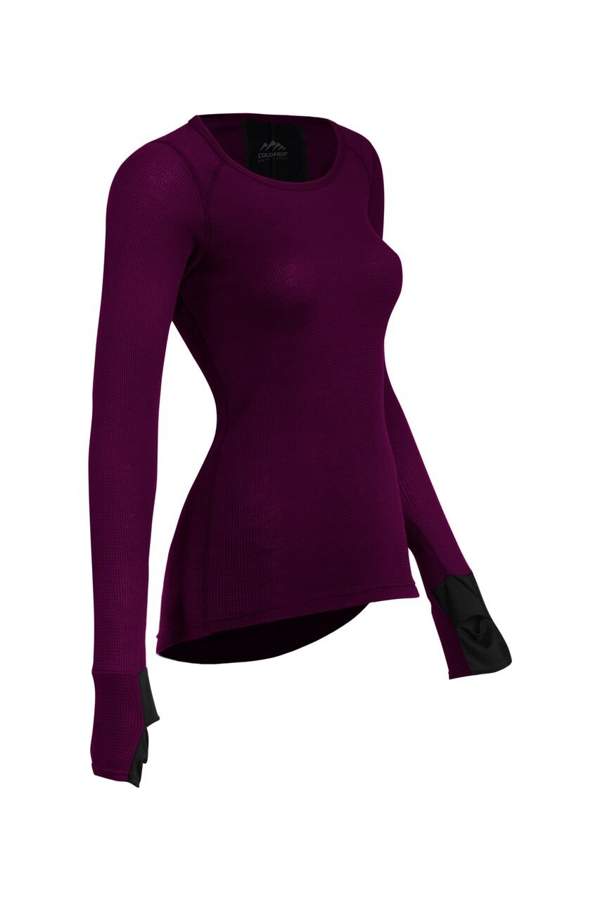 ColdPruf Women's Zephyr Performance Long Sleeve Crew Neck Baselayer Top, Plum, Large
