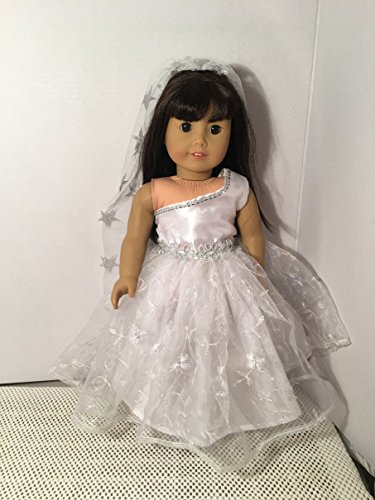 Fits American 18 inch Girl Doll Clothes Princess Wedding First Communion Dress Costume Only