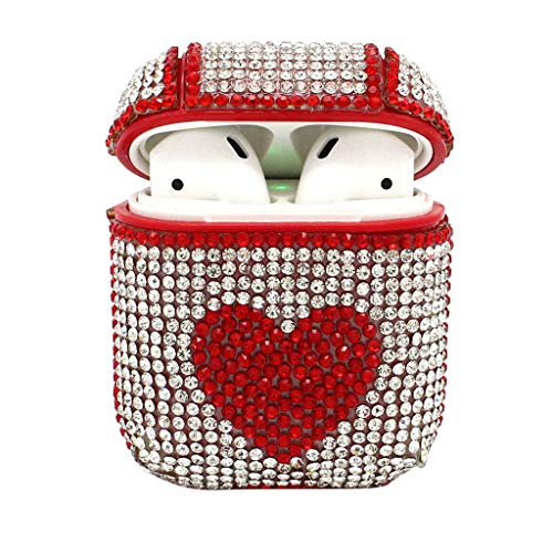 (Xindda Airpods Case Cover, Cute Bling Luxurious Diamonds Heart Pattern Knitting Wool Winter Portable Protective Case Cover for Airpods Earphones, Valentine's Day Present)