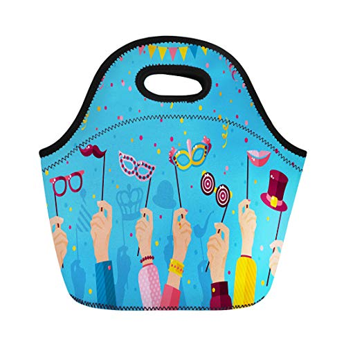 Semtomn Lunch Bags Blue Purim Carnival Hands Holding Carnaval Masks Masquerade Booth Neoprene Lunch Bag Lunchbox Tote Bag Portable Picnic Bag Cooler -