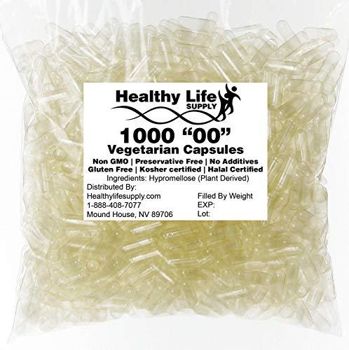 "Empty Vegetarian Capsules – 1000 Size""00″ Bulk Wholesale"