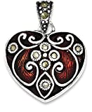ICE CARATS 925 Sterling Silver Red Enamel Marcasite Heart Pendant Charm Necklace / Love