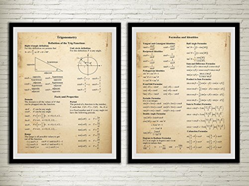Trigonometry Vintage Print Mathematics Learning Aid Wall Decor Maths Office Decor Student Wall Art Study Room ()