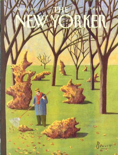 New Yorker cover Benoit topiary leaf piles 11/5 1990