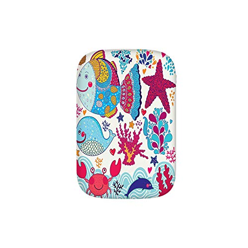 Funny Fishes Starfish Coral Crab Underwater Life Waves Marine Clipart Portable Charger 10000mAh Power Bank External Battery Backup Pack Fast Charger for iPhone,Samsung Galaxy and More