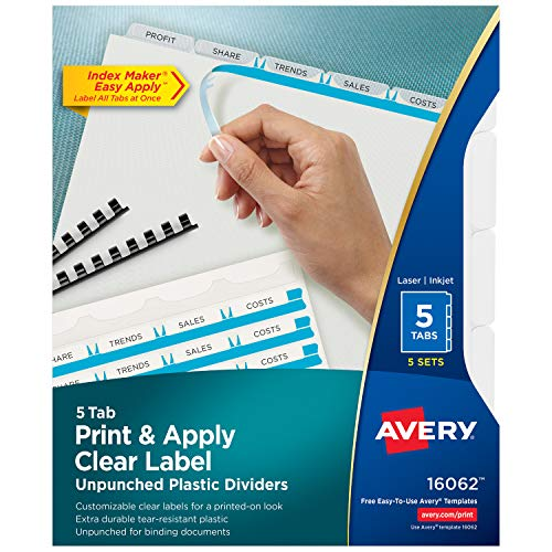 Avery 16062 Print & Apply Clear Label Unpunched Dividers, 5-Tab, Letter (Pack of 5 ()