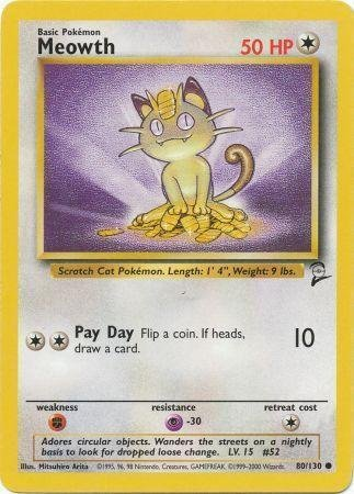 Pokemon - Meowth (80) - Base Set - Card Meowth