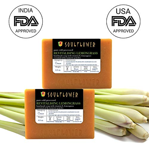 Lemongrass Handmade Soap by Soulflower, (5.3Oz x 2 bars) Balance Skin Oil and Strengthen Skin, Best Natural Toner, 100% Natural, Vegan & Cold processed, USFDA approved, SLS Free, Indian Formulation