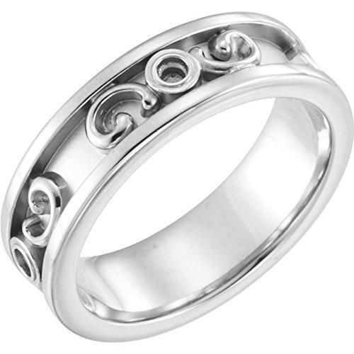 Bonyak Jewelry 14k White Gold Etruscan-Inspired Ring Mounting - Size 9 ()