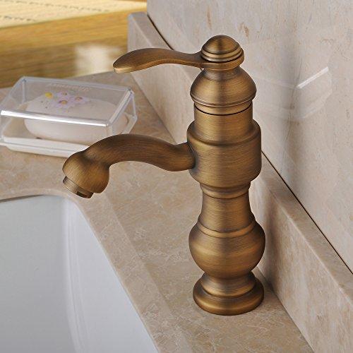 Hiendure Antique Brass Bathroom Sink Faucet Single Handle Centerset Vessel Filler Faucet Antique Copper Basin Mixer Tap