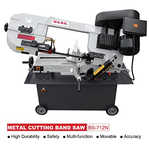 Industrial Metal Cutting Band Saw (KAKA Industrial BS-712N 7x12 Inch Metal Cutting Bandsaw, Solid Design Metal Bandsaw, Horizontal Bandsaw, High Precision Metal Band Saw, Build-In Safety Settings, Space Saver Metal Cutting Band Saw)