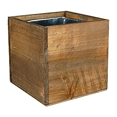 CYS® Wood Cube Box Wood Planters with Removable Zinc Liner (Pack of 6 pcs)